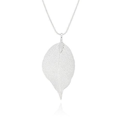 Selia Feder Kette lang Feather Halskette Blatt minimal handgemacht (Silber)