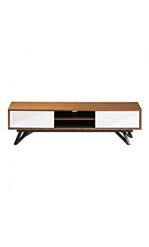 CAMINO A CASA - Meuble TV design 2 portes bois et miroirs Fortune
