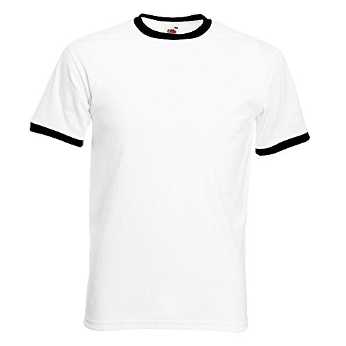 Fruit of the Loom - Kontrast T-Shirt 'Ringer T' White/Black