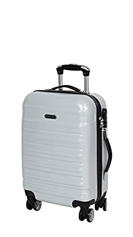 Hard Shell 4 Wheel Spinner Suitcase Travel Luggage Lightweight Expandable Trolley Bag H712 Silver (CABIN 56x35x22 cm /
