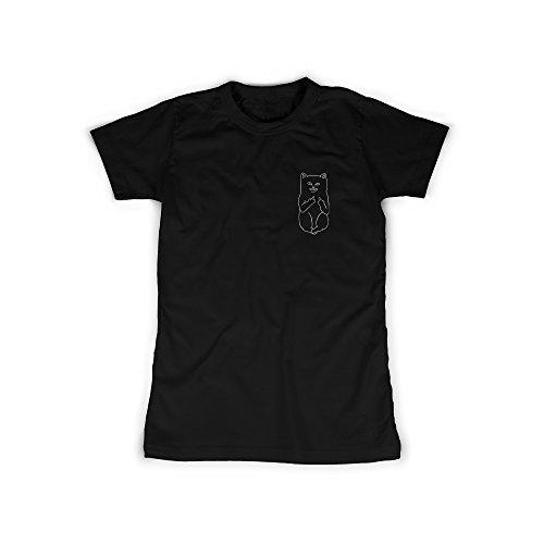 Frauen T-Shirt mit Aufdruck in Schwarz Gr. M Cat Katze Fuck You Mittelfinger Design Girl Top Mädchen Shirt Damen Basic 100% Baumwolle kurzarm