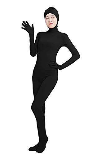 Insun Unisex Ganzkörperanzug mit Füßen Catsuit Gesicht Offene Unitard Anzug Suit Kostüm Schwarz XL (Schwarz Unitard Kostüm)
