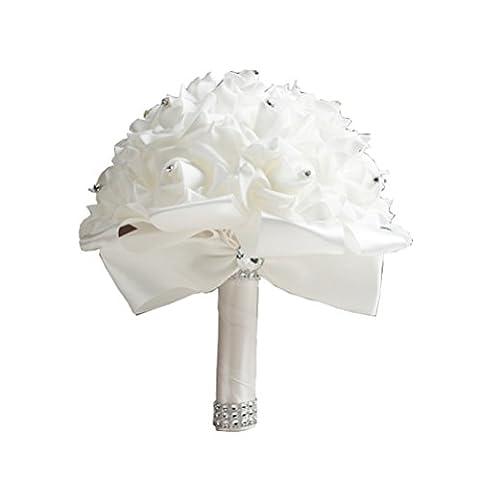 Hosaire Bouquet de Mariage Fleurs Artificielles Rose en décoration pour Mariage Maison Fête Soirée et Grandes banquet