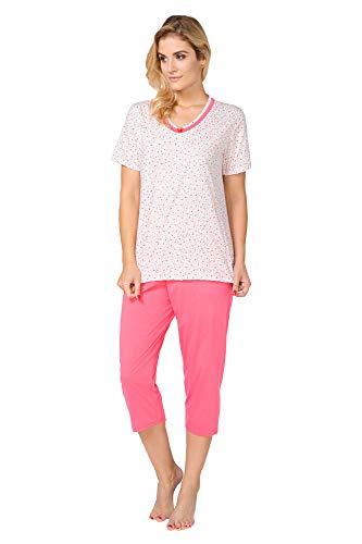 BeComfy Damen Pyjama Set Schlafanzug aus 100% Baumwolle T-Shirt und 3/4 Capri Hose Größe S-2XL (M, Alice Klein Blume Rosa) Rosa Capri-set