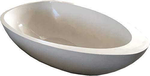 Guru-Shop Freistehende Terrazzo (Stein Terrazo) Badewanne, Beige - Modell 5, Elfenbein, 49x100x180 cm, Waschtische, Waschbecken & Badewannen