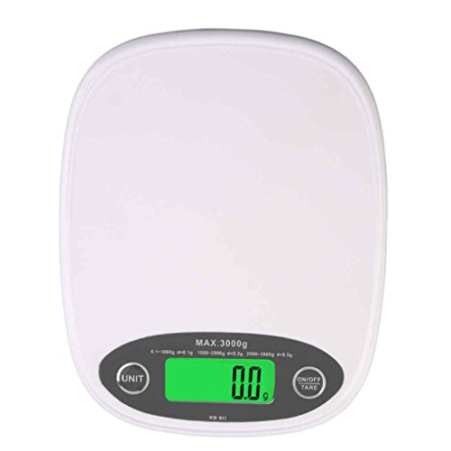 Befaith Weiß Slim LCD Elektronische Küche 3 kg / 0,5 Digital Waage Lebensmittel Ernährung white 15 x 12 x 2cm (3kg Waage)