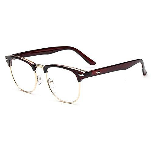 YMTP Klare Linse Eye Glasses Frames Männer Frauen Transparent Gefälschte Gase Runde Optische Brillen Nerd Eyewear, Brown