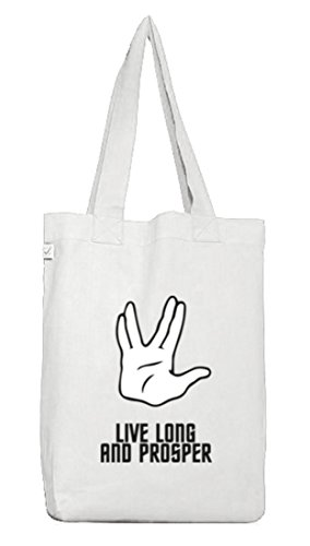 Kult Serie Jutebeutel Stoffbeutel Earth Positive mit Live Long And Prosper Motiv von ShirtStreet White