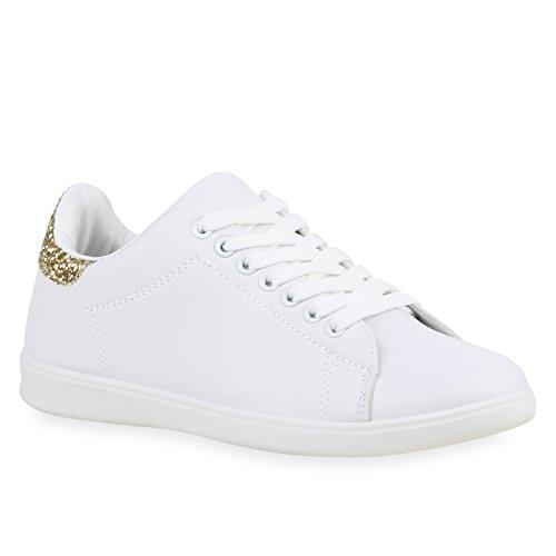 Sportliche Damen Sneakers Sneaker Low Lack Retro Flats Schnürer Animalprints Leder-Optik Schuhe 121144 Weiss Gold Neu 38 | Flandell (Für Schuhe Breite Extra Frauen)
