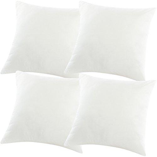 PROHEIM 4X Füllkissen 40 x 40 cm in Weiß Polyester Kissenfüllung Sparset Inlett Kissen für Dekokissen Sofakissen Kopfkissen Cocktailkissen