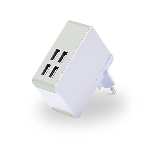 Top-Longer Caricatore USB da Muro 40W 8A 4 Porte USB con adattatore EU UK US - Caricabatterie da Viaggio con Tecnologia Smart - Compatibile con la maggior parte dei dispositivi alimentati da porta usb