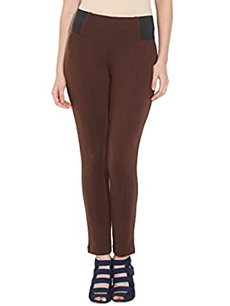 109 F Women Blended Jeggings Sports Tights & Leggings (A14Djeg02Y _Brown _X-Small)