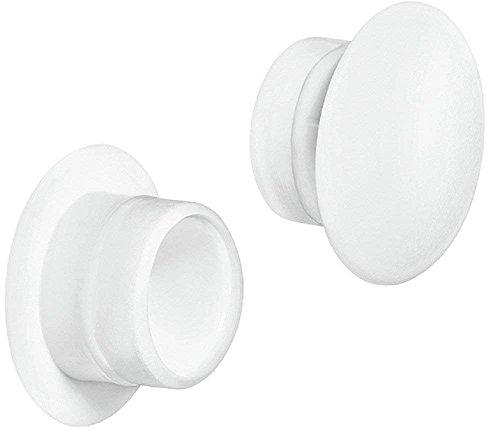 Gedotec Möbel-Abdeckkappen Kunststoff Schrauben-Kappen rund Schrauben-Abdeckungen weiß - H1117 | Ø 12 mm | für Blindbohrung | 20 Stück