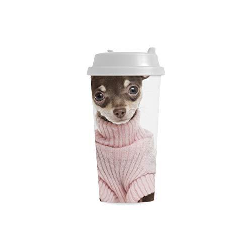 Netter kleiner Chihuahua Hündchen kundenspezifischer Druck 16 Unze doppelwandiger Plastik isolierkunst sport Wasser Flaschen Schalen Pendler Reise Kaffeetassen für Studenten Frauen Milch Teetasse -