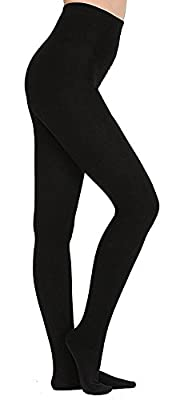 KOROSHNI Women's Lycra Thermal Leggings (Black_30W X 34L)