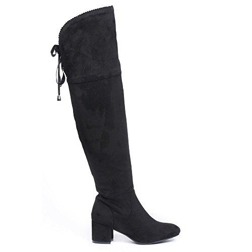 à Meguy carré Cuissardes Ideal Shoes daim effet talon Noir qwBgxEx0v7