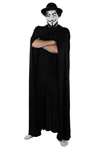 onymous One, Protest, Fawks-Maske + schwarzer Hut + schwarzes 150 cm Cape, Zubehör-Set ()