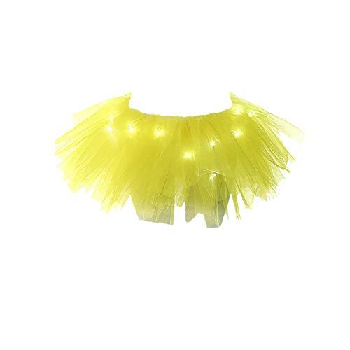 Lazzboy Rock Tüll Ballkleid Damenmode Leuchten LED Bühnentanz Rave Mini Solide (Gelb)