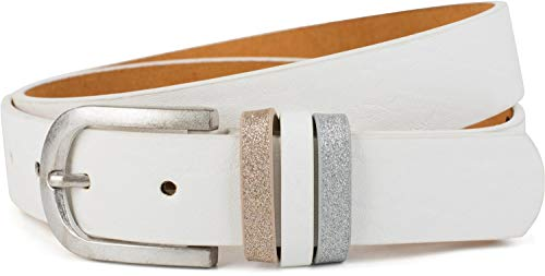 styleBREAKER Cintura da donna tinta unita con passante glitterato accorciabile 03010091