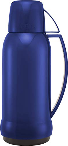 THERMOS Jupiter 38 Thermosflasche mit Glaseinsatz, 1.0 l, rot/blau Sortiert