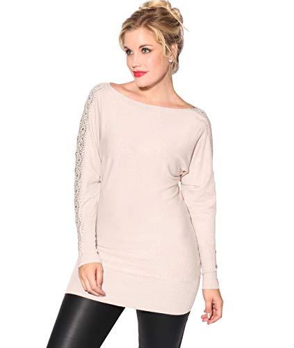KRISP Damen Langer Pullover Winter Minikleid Pulloverkleid