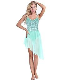 iixpin Tutu Robe de Ballet Femme Robe Latine Jupe Latine Danse Bretelle  Justaucorps de Gymnastique Classique 7a986216491