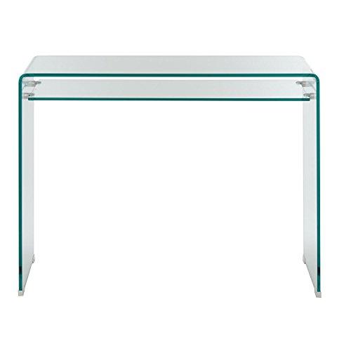 Klar Glas-schreibtisch (Homy Mini-Schreibtisch Glas | formgebogenes Glas 12mm Klarglas 1 Ablage Glasboden 10mm 100x50cm - Xenia)