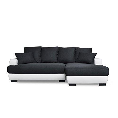 Canapé lit Canapé d'Angle Convertible/Noir blanc 233 x 147 x 83 cm,Canapé d'angle Simili Cuir 5 places