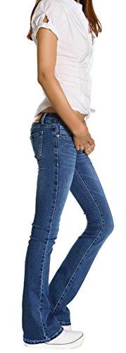 Bestyledberlin pantalons, jeans pour femme coupe bootcut jeanshosen j196p Bleu - Bleu clair