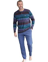 MASSANA Pijama de Hombre listado con Tapeta P681319 - Granate, M