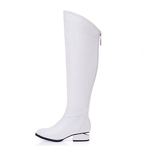 ZQ@QXregalo di Natale In Europa le calzature di cuoio stivali in pelle alti stivali dimensioni white