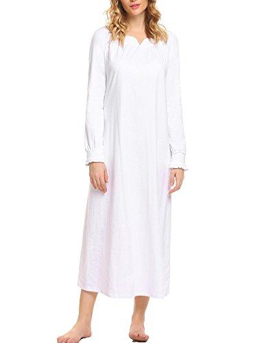 ADOME Nachthemden Langarm Länge Nachtwäsche Damen Bodenlanges Kleid Baumwolle Langes Jersey Maxikleid Nachtkleid Weiss 42 44
