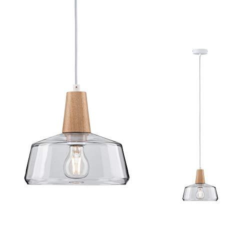 Paulmann Leuchten 79744 Neordic Yva - Lámpara de techo colgante (máx. Lámpara de techo para bombillas E27 de 20 W, transparente, 230 V, cristal y madera, sin bombilla