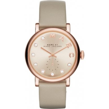 Marc Jacobs Women's Quartz Watch with Rose Gold Dial Analogue Display and Rose Gold Leather Bangle MBM1400
