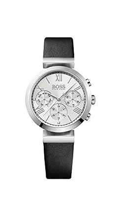 HUGO BOSS 1502397 Women Chronograph Quartz Watch with Leather Bracelet, Silver