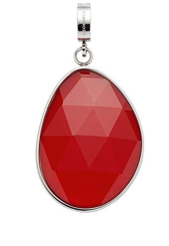 Jewels by Leonardo DARLIN\'S Damen-Anhänger Milva mit Mini-Clip, Edelstahl mit korallrotem Glas-Stein, Clip & Mix System, Größe (B/H/T): 21/25/8 mm