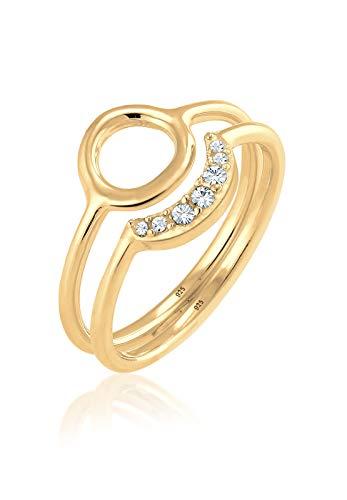Elli Damen-Ring Halbmond Kreis 925 Silber teilvergoldet weiß Rundschliff Kristall Gr. 56 (17.8) - 0601671217_56