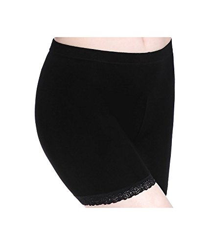 Damen Kurz Leggings Unter Rock Shorts Mit Spitze - Slim Stretch Bequem Thin (Damen Halloween-leggings)