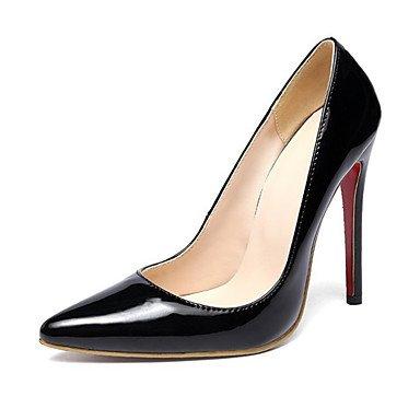 Wuyulunbi@ Scarpe donna pu Primavera Estate Comfort Novità tacchi Stiletto Heel punta per la festa di nozze & Sera mandorla Rosso Nero Nero