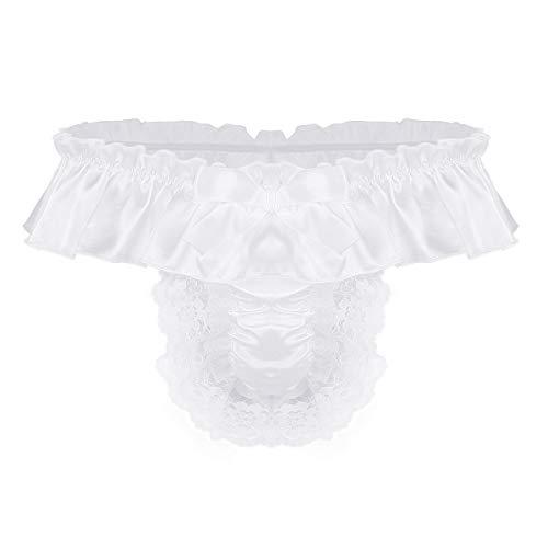 Satin Kostüm Spitze - iEFiEL Herren Sissy Satin T-Back String Erotik Low Rise Slips Tanga Unterwäsche Unterhose mit Spitzen Rüschen Kostüm Reizwäsche M L XL Weiß Large