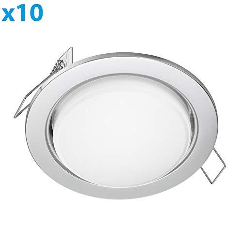 ledscom.de LED Foco empotrables Zobe Plano GX53 crómico Mate Redondo 6.3W=40W 450lm...