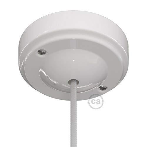 creative cables Minimalistischer Lampenbalachin Kit aus Porzellan - Weiß