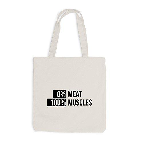 Jutebeutel - Vegetarier Vegan 0% Meat 100% Muscles - Sport Fitness Training Beige