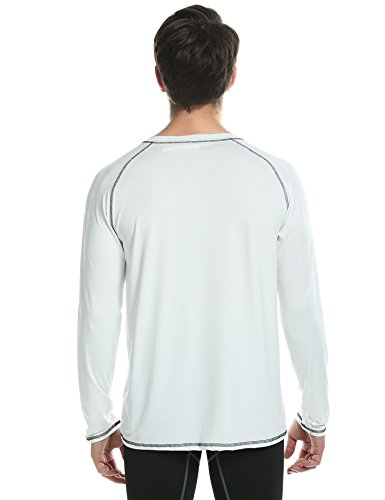 Teamyy Herren Shirt Bluse Langarmshirt Langarm V-Ausschnitt Weiß