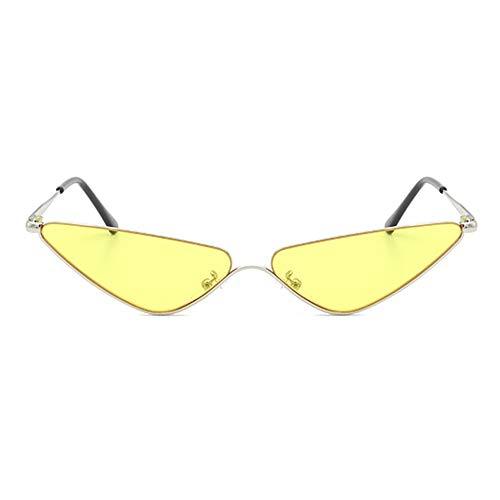 erika Dreieck Kleine Grenze Sonnenbrille Persönlichkeit Silber Halbrahmen Cat Eye Brille UV400 Schutz Unisex Candy Farbe Objektiv Attraktiv (Farbe : Yellow) ()