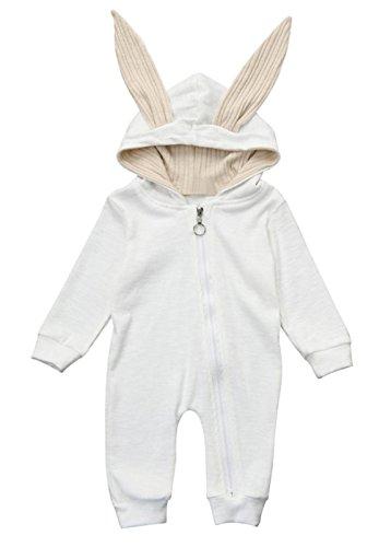 Langarm★Mädchen Junge Mit Kapuze Hase Spielanzug ★Geschenk Kleidung Weihnachten Party Anzug (Weiss 3 Monat) (Windel-partei-ideen)