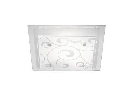 Glas-zwei-licht-deckenleuchte (Globo Deckenleuchte Metall weiß Glas satiniert mit Dekor 48062-2 LxBxH:335x335x80, exklusiv 2 x E27 ILLU 60 W)