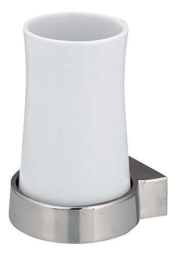 Spirella Sydney Zahnbecher inklusive Halter Porcelain Weiss Metall verchromt