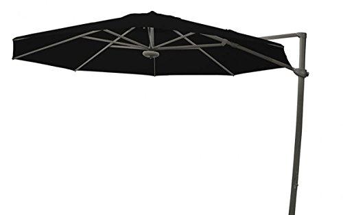 PEGANE Parasol décentré Laterna Noir anti-UV inclinable rond ⌀350cm