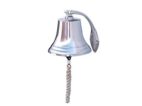 Chrome Hanging Harbor Bell 7 - Chrome Ship Bell - Nautical Decor - Chrome Boa by Handcrafted Model Ships - Hanging Harbor Bell